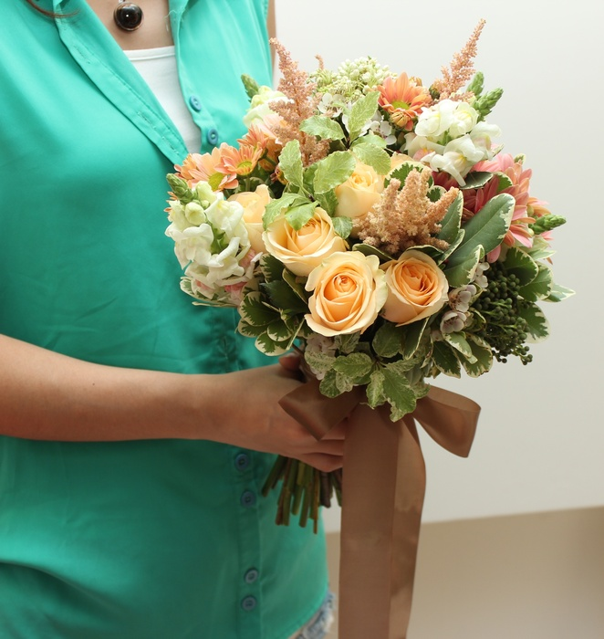 Coral champagne wedding bouquet