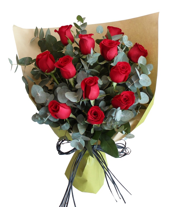 12 Red Roses with Eucalyptus