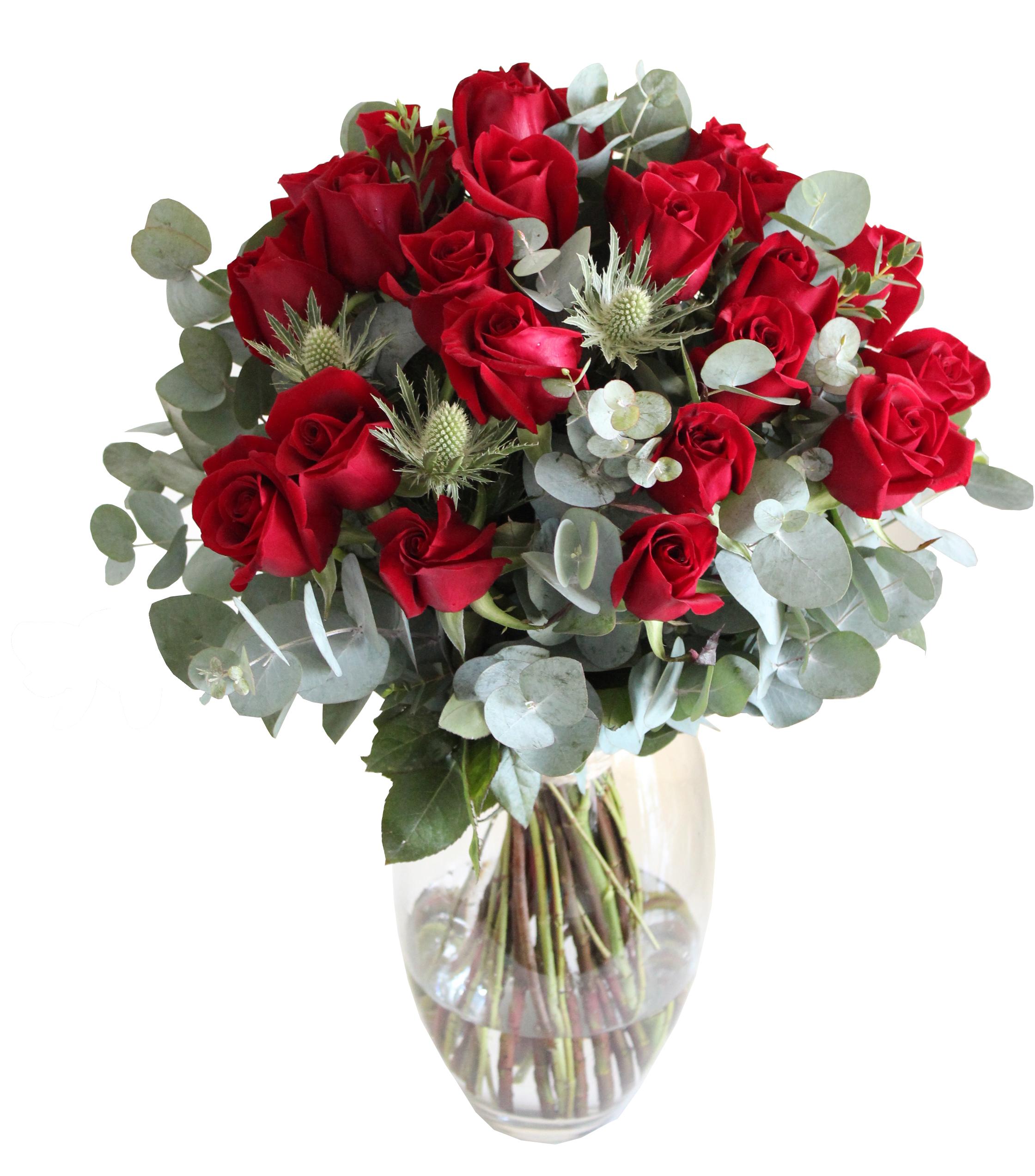 24 red roses in vase. Black Bedroom Furniture Sets. Home Design Ideas